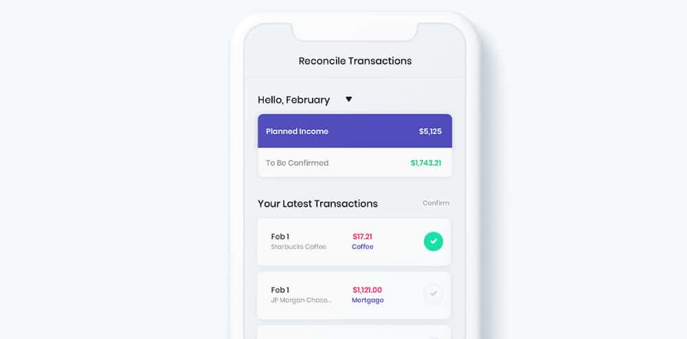 Image of Change's Reconcile Transactions screen.