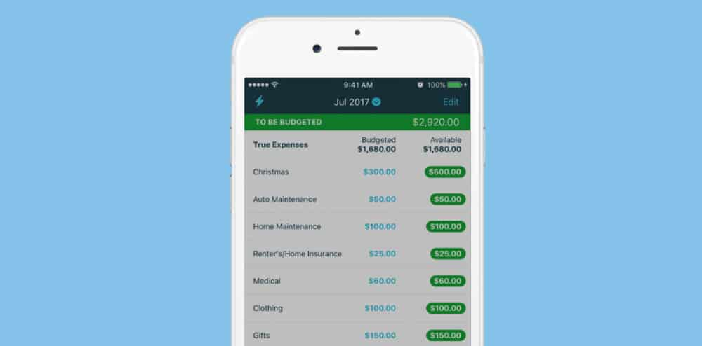 Image of the personal budgeting app YNAB's (You Need A Budget) mobile budgeting interface.